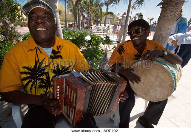 Bahamas Half Moon Cay Cat rake & scrape musicians private owned by Holland America Cruise Lines - Stock Image