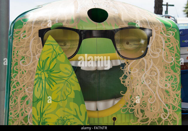 Humorous face recycling bin, Lloret de Mar, Costa Brava, Province of Girona, Catalonia, Spain - Stock Image
