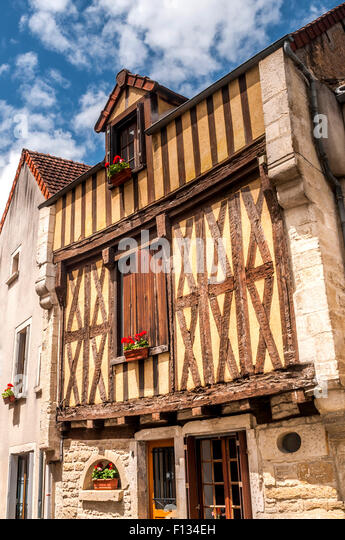 Old half-timbered house, Yonne, France. - Stock Image