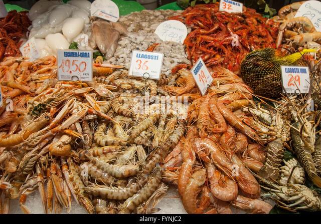 Seafood, Fish, Mercat de Sant Josep located on La Rambla, Boqueria market, Barcelona, Spain - Stock Image
