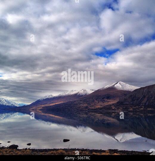 Natural reflection. Lake Ohau, NZ - Stock Image