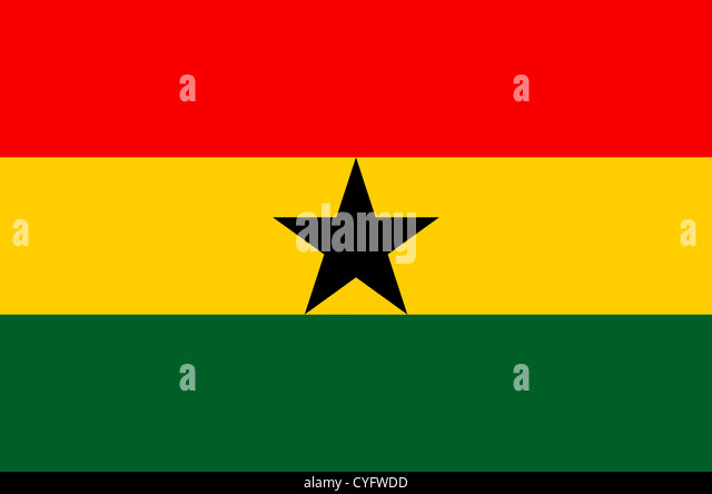 National flag of the Republic of Ghana. - Stock Image