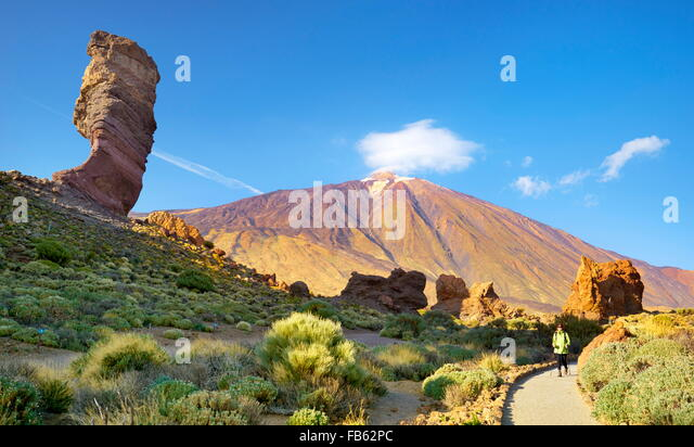 Tourist in Teide National Park, Canary Islands, Tenerife, Spain - Stock Image