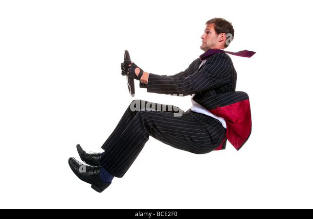 Concept image of a businessman driving a car that is 100 environmentally friendly Isolated on a white background - Stock Image