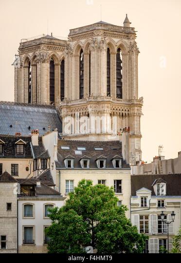 Notre Dame de Paris Cathedral Towers and Ile de la Cite in Early Morning Summer Light, Paris, 4th arrondissement, - Stock Image