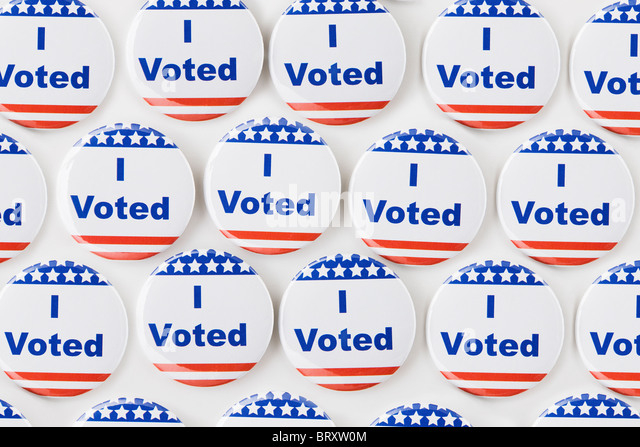Rows of American vote buttons - Stock Image