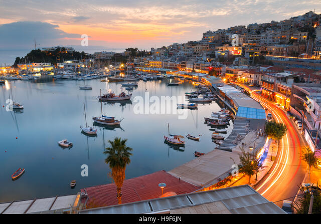 Evening view of Mikrolimano marina in Athens, Greece. - Stock Image
