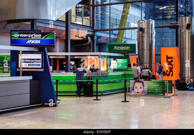 Spain Europe Eurozone Spanish MAD Adolfo Suarez Madrid-Barajas Airport international inside interior terminal concourse - Stock Image