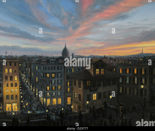 An oil painting on canvas of a colorful panoramic sunset view of the capital of Italy, Rome from the top of the - Stock Image