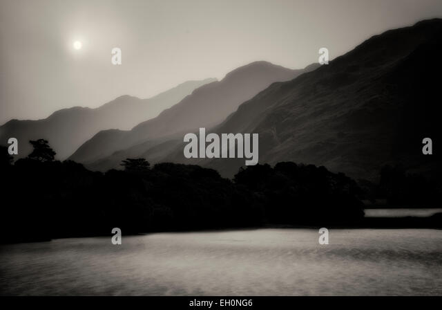 View of lake in front of Kylemore Abbey. Connemara region, Ireland - Stock Image