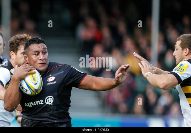 Barnet Copthall, London, UK. 09th Oct, 2016. Aviva Premiership Rugby. Saracens versus Wasps. Mako Vunipola of Saracens - Stock Image