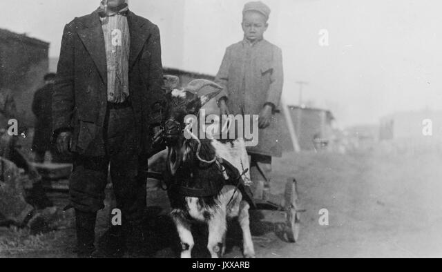 Two African American males standing with goat, African American male next to goat wearing dark jacket, dark pants - Stock Image