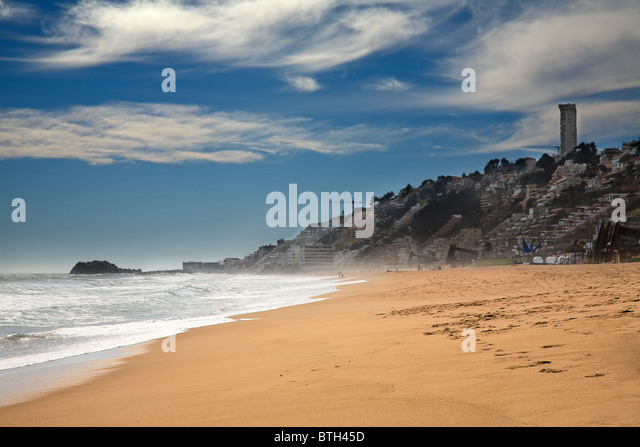 beach at Vina del Mar, Chile - Stock Image