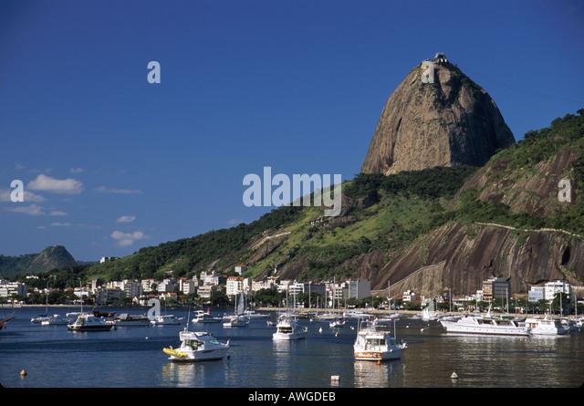 Brazil South America Rio De Janeiro Botafogo Bay boats Sugarloaf - Stock Image