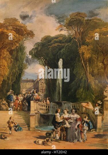 'Garden of a French Chateau', 1832, (1938). Artist: Camille Joseph Étienne Roqueplan. - Stock Image