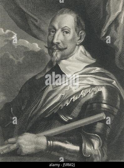 Gustavus Adolphus (1594-1632), King of Sweden, Engraving, 1800's - Stock Image