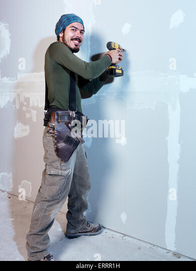 Construction Worker Drywall Tool Stock Photos