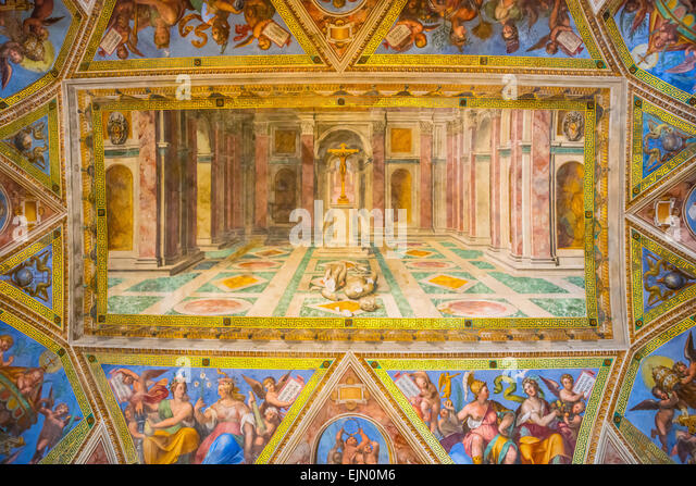 The triumph of Christianity over Paganism by Tommaso Laureti, ceiling fresco, Sala di Costantino, Vatican Museums, - Stock Image