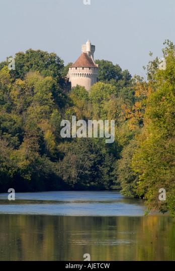Chateau overlooking river Creuse, near Tournon St. Martin, sud-Touraine, France. - Stock Image