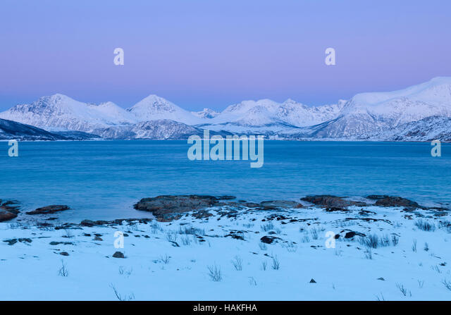 Fjord Landscape in Winter, Sandneshamnveien, Sandvika, Troms, Norway - Stock Image