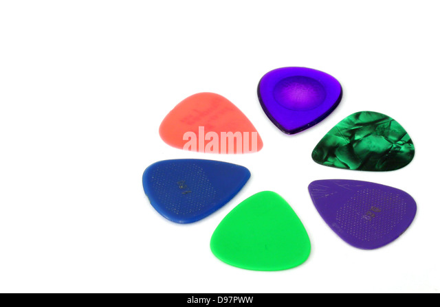 Guitar picks isolated on white. - Stock Image