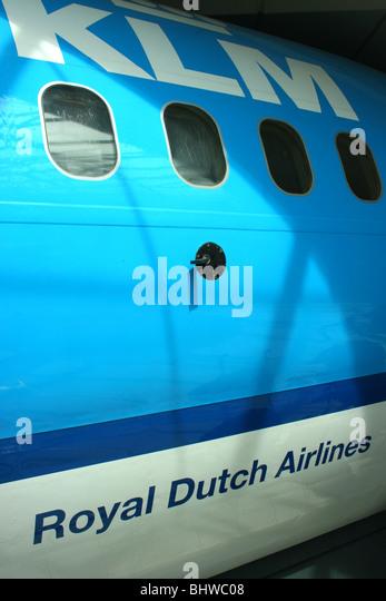 fuselage of KLM airliner - Stock Image