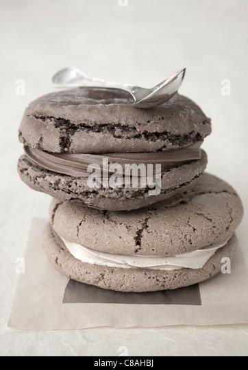Grey macaroons - Stock Image