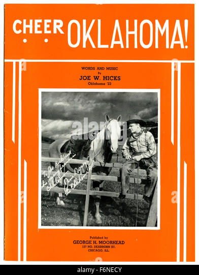 Piano sheet music cover of 'Cheer Oklahoma!' featuring James Cagney. Rare song written in honor of the University - Stock Image
