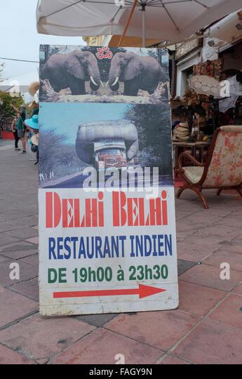 Advert for the Delhi Belhi indian restaurant in Nice, French Riviera, France. - Stock-Bilder