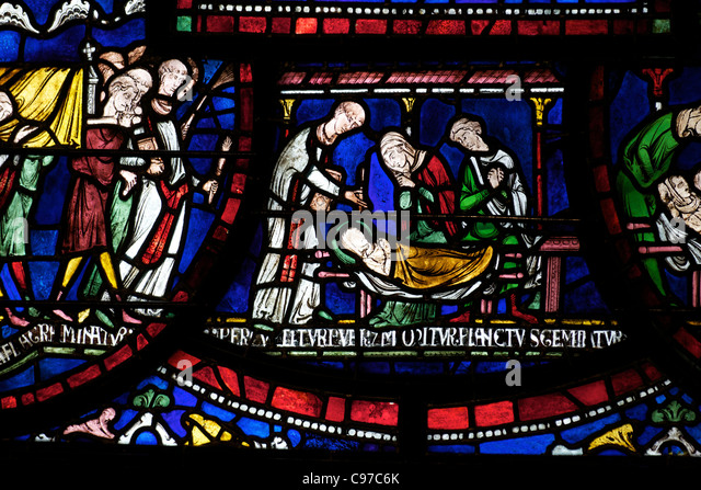 Plague in the House of Jordan Fitz-Eisulf, Becket Miracle Window 6, Trinity Chapel Ambulatory medieval stained glass, - Stock Image