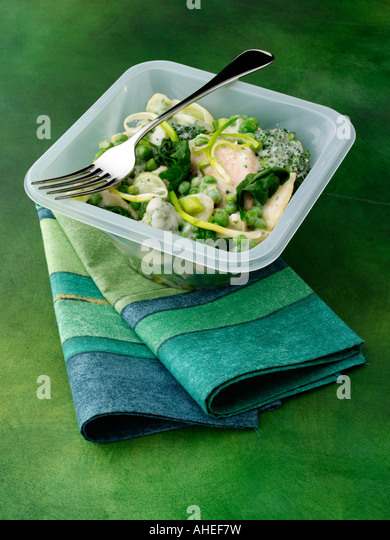 Seafood and vegetables convenience editorial food - Stock-Bilder