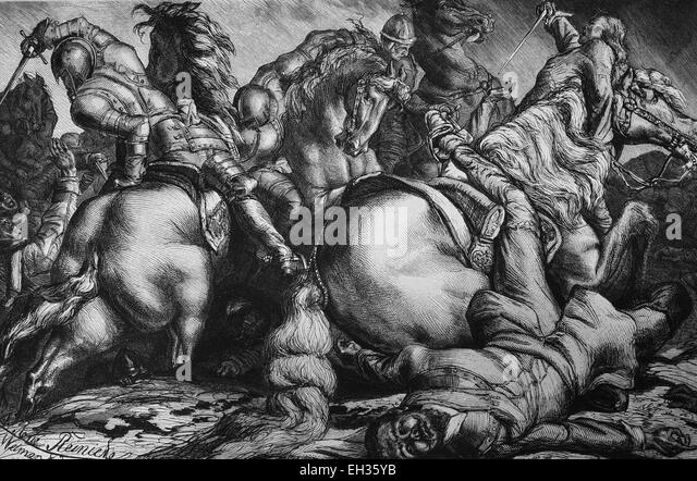 The death of Gustavus Adolphus, Gustav II Adolph, 1594-1632, in the battle of Luetzen, from the Vasa ruling family, - Stock Image
