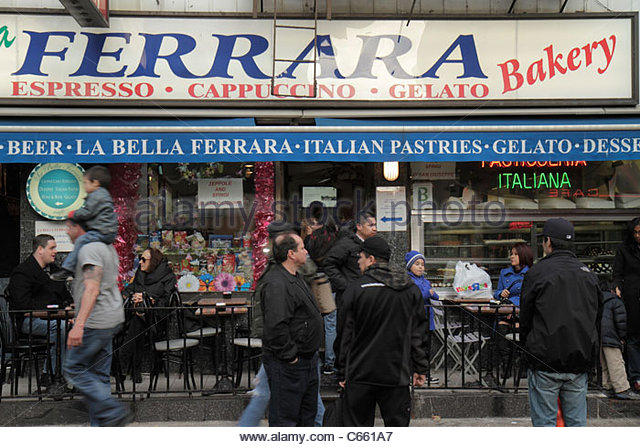 Lower Manhattan New York City NYC NY Little Italy Grand Street ethnic neighborhood La Bella Ferrara bakery gelato - Stock Image