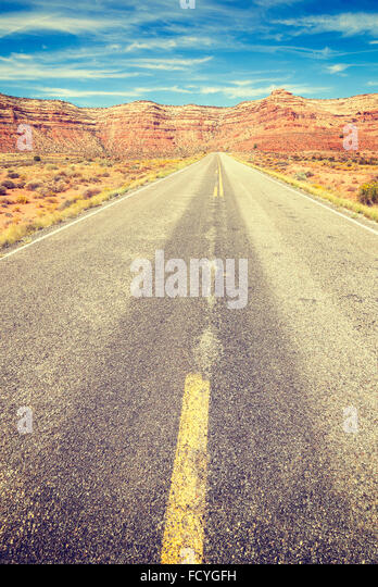 Vintage stylized country road, travel concept. - Stock-Bilder