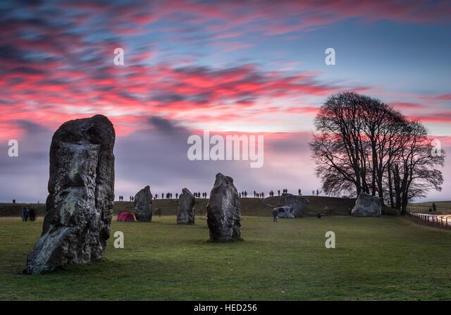 Avebury Winter Solstice - Stock Image