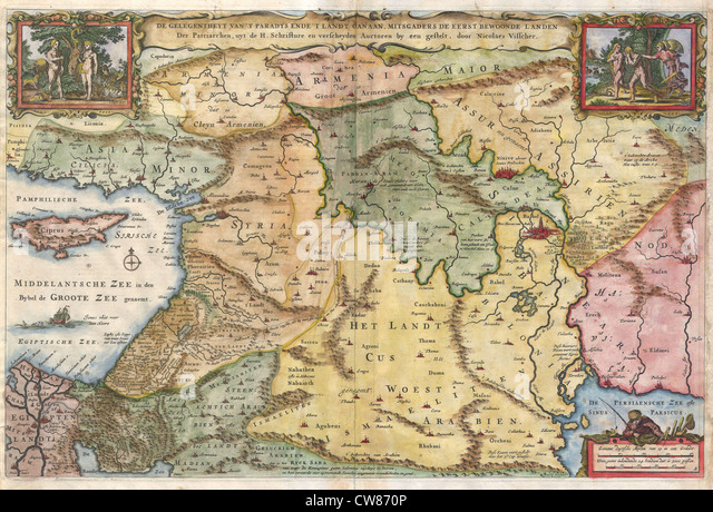 1657 Visscher Map of the Holy Land or the 'Earthly Paradise' - Stock Image