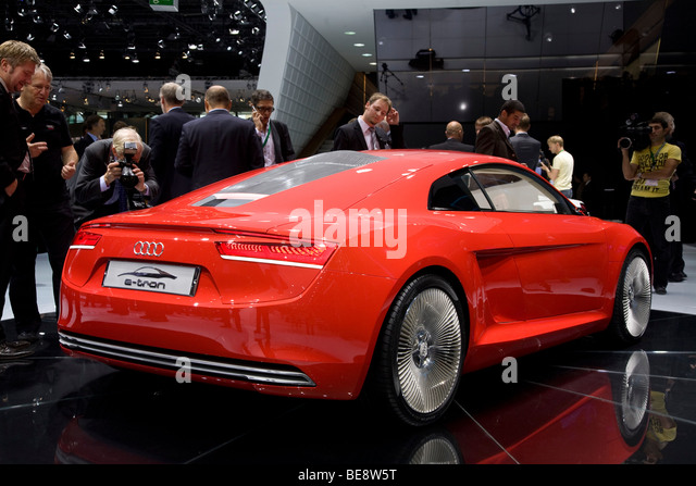 Audi R8 E-tron electric car at a European motor show - Stock Image