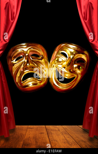 masks of tragedy and comedy on stage - Stock Image