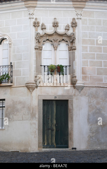 beautiful house facade evora alentejo portugal - Stock Image