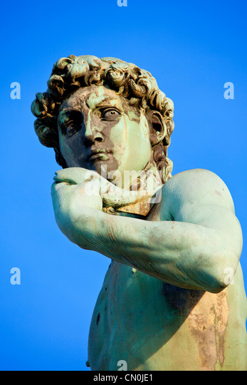 Europe, Italy, Florence, Replica of David by Michelangelo at Piazzale Michelangelo - Stock Image