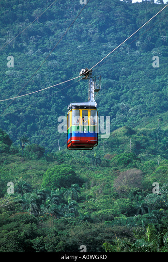 Dominican Republic Puerto Plata Isabela de Torres cable car - Stock Image