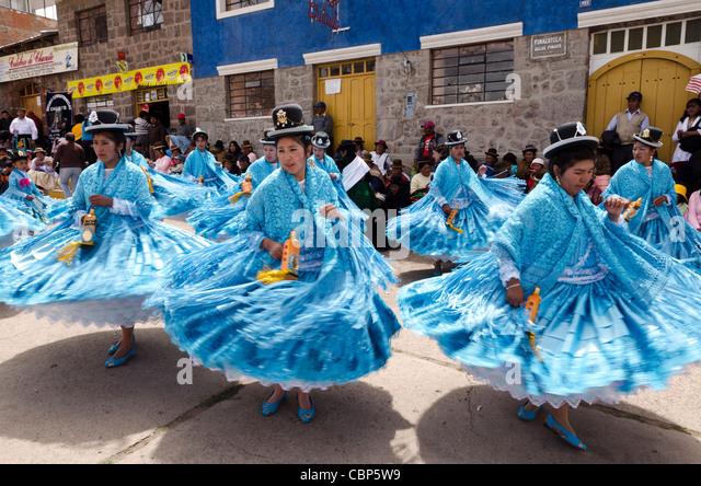 Traditional Peruvian dancers at the fiesta de Nuestra Señora del Rosario in Chucuito Puno Peru - Stock-Bilder
