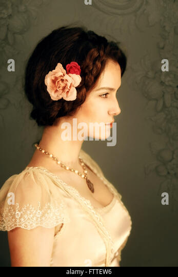 Young historical brunette woman - Stock Image