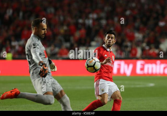 Portimonense«s goalkeeper Ricardo Ferreira from Portugal  (L) and Benfica«s midfielder Pizzi from Portugal - Stock Image