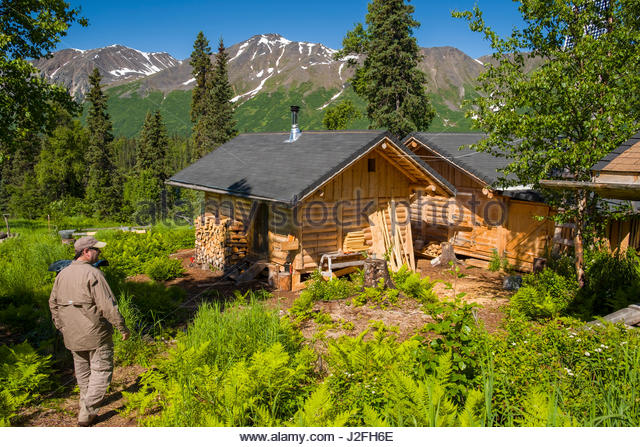 Alaskan Log Cabin Stock Photos Alaskan Log Cabin Stock
