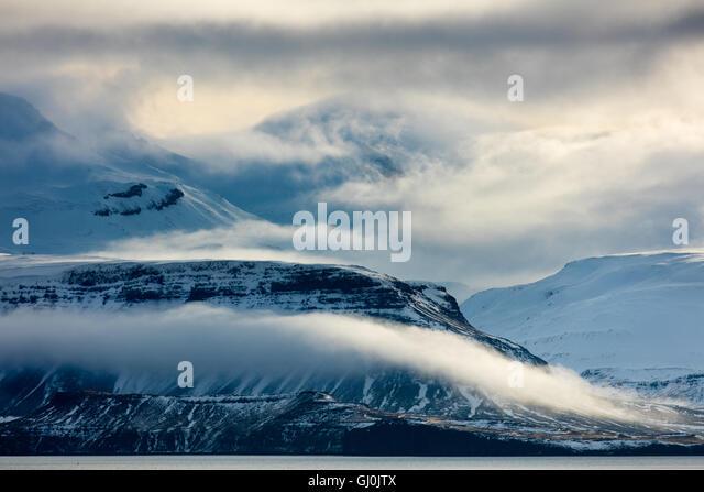 Moody Cloud at Hvalfjörður , western Iceland - Stock Image