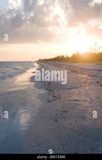 Sunset on beach, Sanibel Island, Gulf Coast, Florida, United States of America, North America - Stock Image