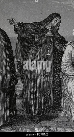 Nun of the Order of Poor Clares. Catholic Church. Medieval. Engraving. 19th century. - Stock Image