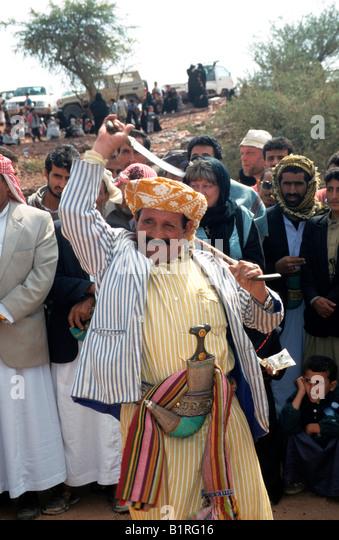Wedding dance, Wadi Dhar, Yemen, Middle East - Stock-Bilder