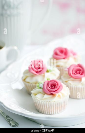 Rose cupcakes - Stock Image